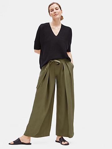 Tencel Twill Wide-Leg Pant with Belt