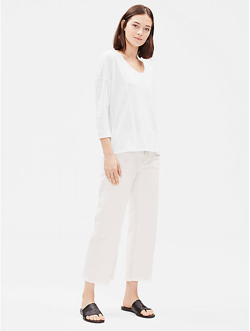 Organic Linen 3/4-Sleeve Box-Top