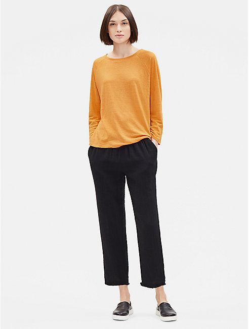 Organic Linen Jersey 3/4-Sleeve Top