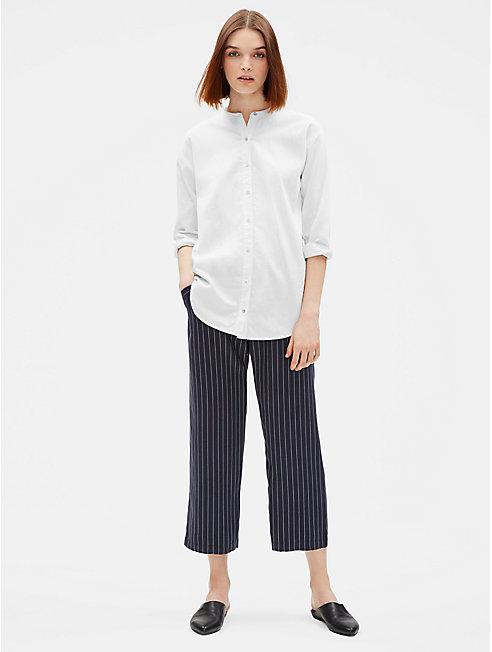 Woven Tencel Stripe Wide-Leg Pant
