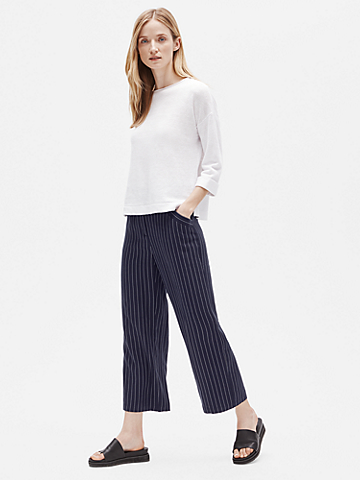 Woven Tencel Striped Wide-Leg Pant