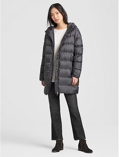 Recycled Polyester Down Hooded Puffer