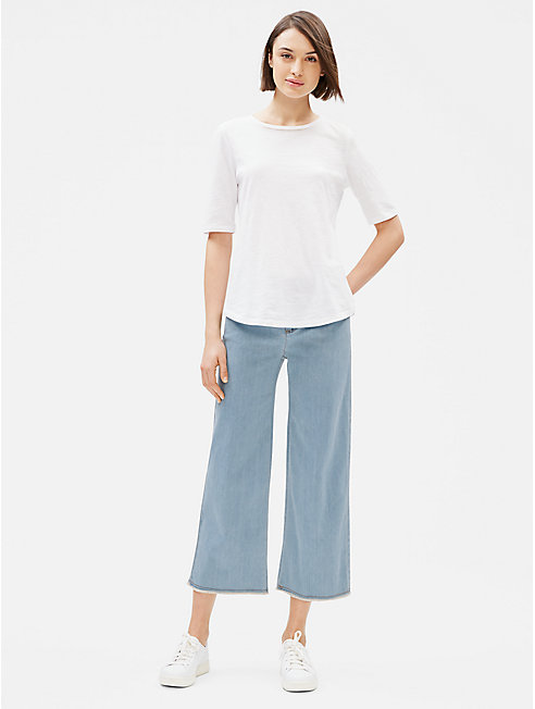 Organic Cotton Stretch Wide-Leg Ankle Jean