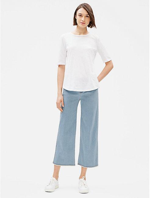 Organic Cotton Stretch Wide-Leg Ankle Jean
