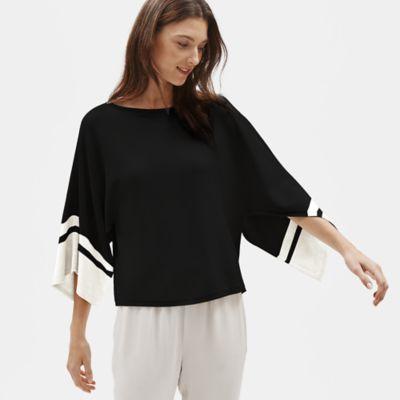 Tencel & Silk Cape-Sleeve Top