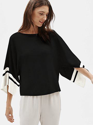 Tencel & Silk Cape-Sleeve Top
