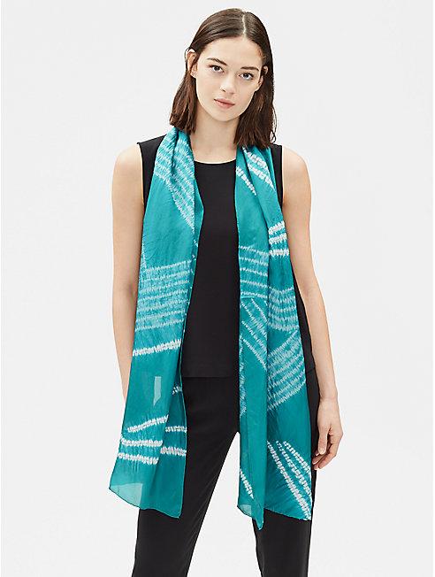 Angled Silk Shibori Scarf