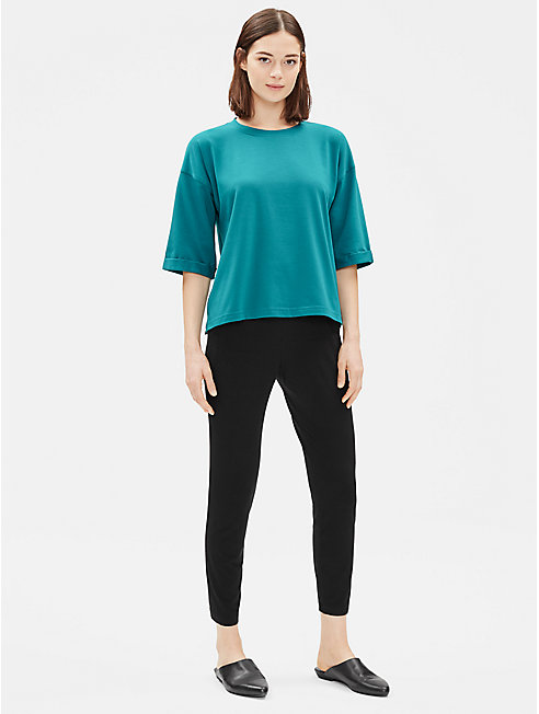 Organic Cotton Stretch Elbow-Sleeve Top