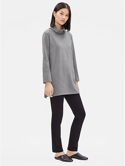 Heathered Organic Cotton Funnel Neck Tunic