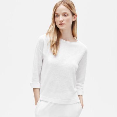 Organic Linen Knit 3/4-Sleeve Top