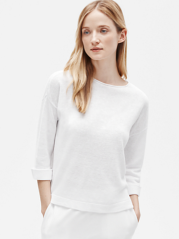 Organic Linen Knit 3/4-Sleeve Top