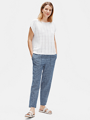 Organic Linen Knit Bateau Neck Top