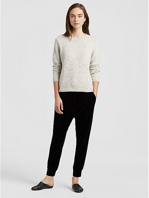 Recycled Cotton Speckle Round Neck Top
