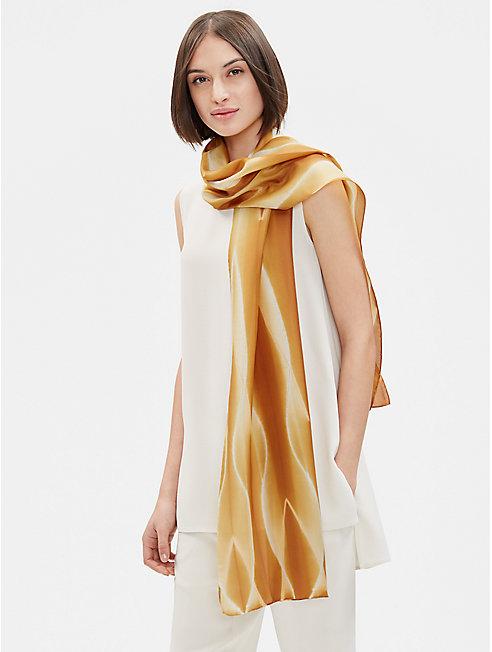 Silk Shibori Helix Scarf