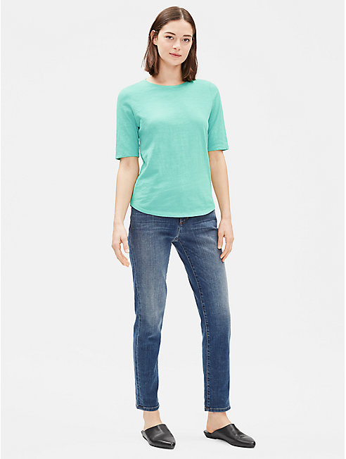Organic Cotton Slub Elbow-Sleeve Top