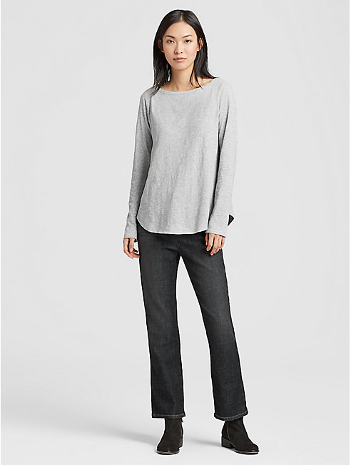 Organic Cotton Slub Melange Shirttail Top