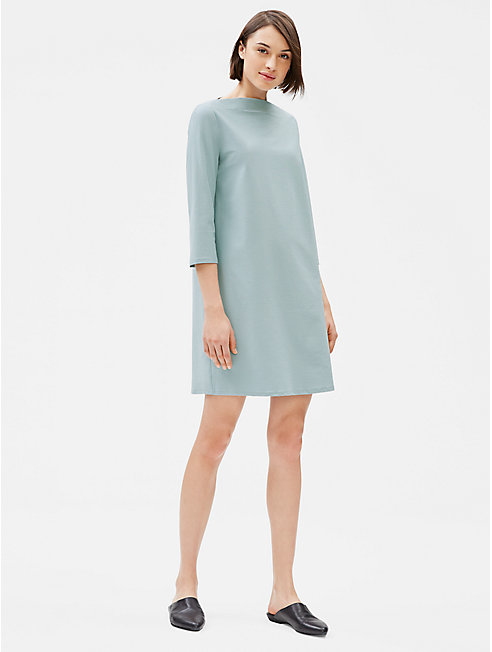 Washable Stretch Crepe Bateau Neck Dress