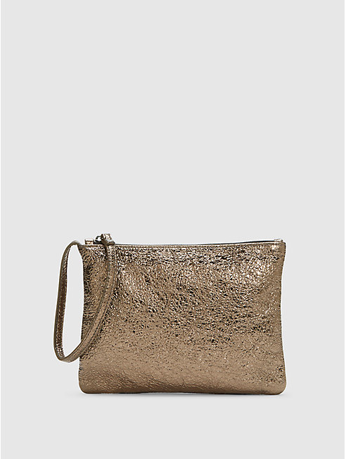 Crackle Coated Leather Wristlet Clutch