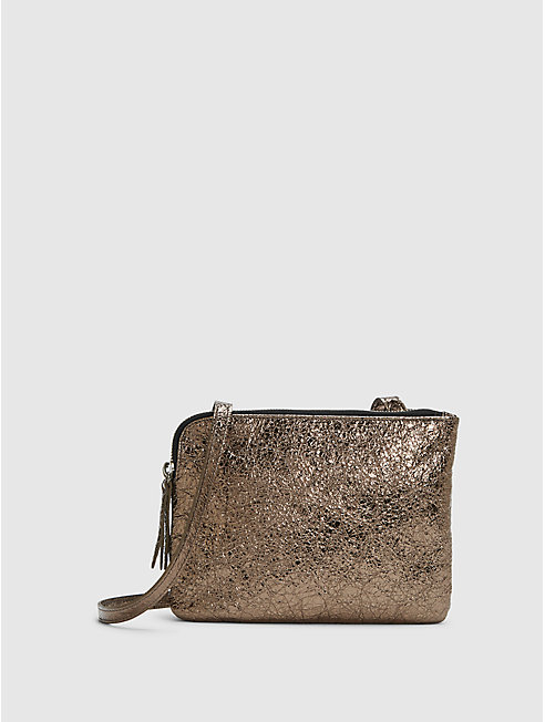 Crackle Coated Leather Shoulder Bag