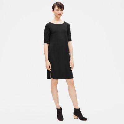 Viscose Jersey Elbow-Sleeve Dress