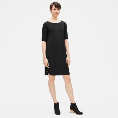 Viscose Jersey Elbow-Sleeve Dress