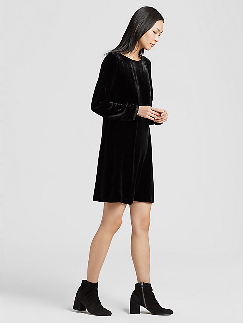 Velvet Bateau Neck Dress