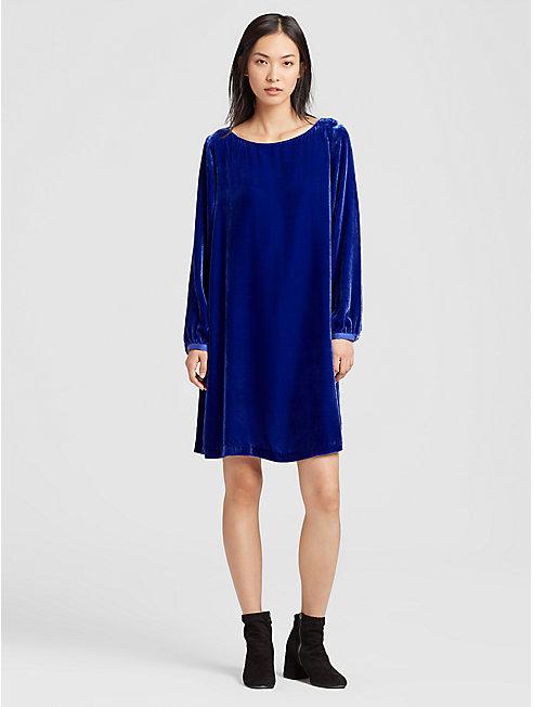 Velvet Bateau Neck Dress