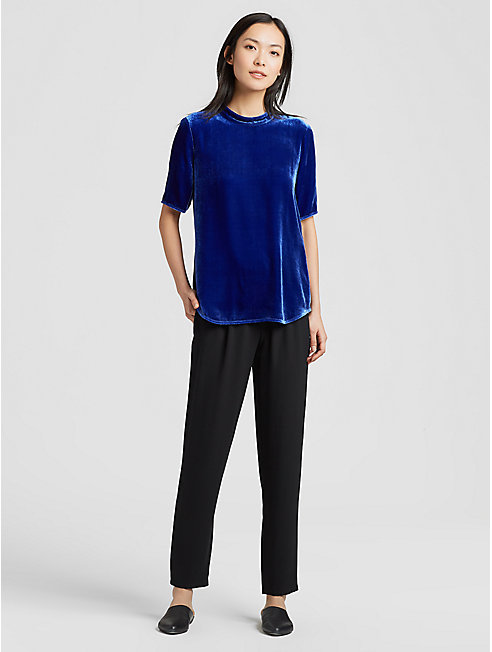 Velvet Mock Neck Short-Sleeve Top