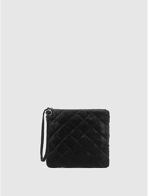 Quilted Velvet Diamond Wristlet Clutch