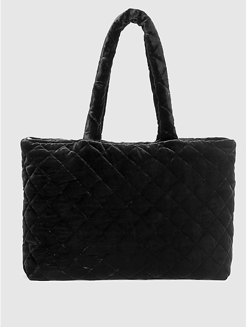 Quilted Velvet Diamond Double Handle Bag