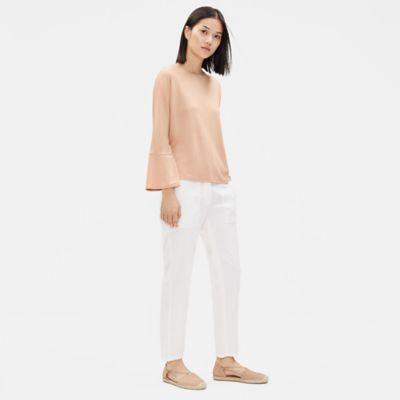 Fluid Tencel Top with Flared Sleeves