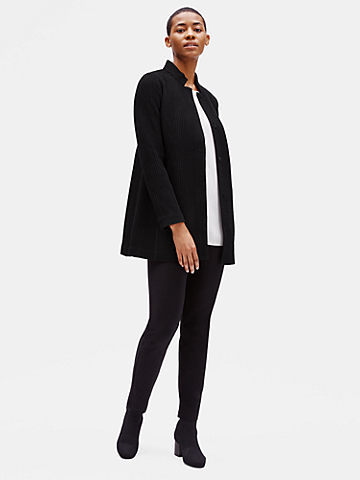 Cotton Tencel Stretch Grid Long Jacket