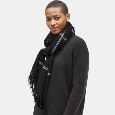Wool Cashmere Windowpane Scarf