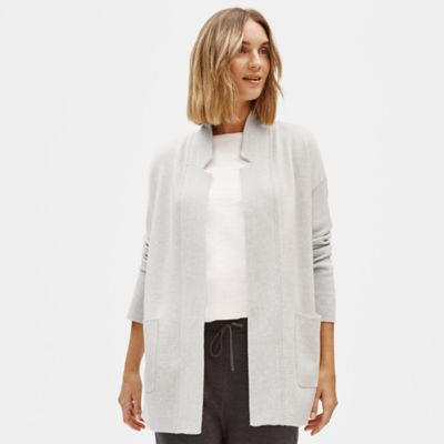 Merino Blend Notch Collar Cardigan in Responsible Wool