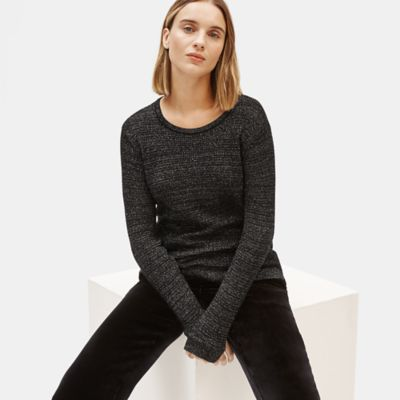 Merino Sparkle Crew Neck Top in Responsible Wool