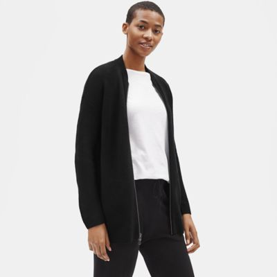 Merino Zip-Front Cardigan in Responsible Wool