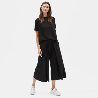 Tencel Jersey Wide-Leg Pant with Pleats