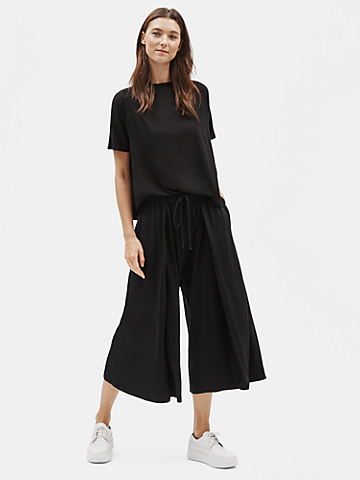 Tencel Jersey Wide-Leg Pant with Pleats