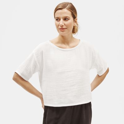 Organic Cotton Gauze Cropped Box-Top
