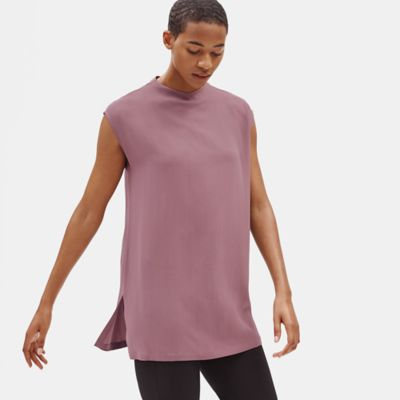 Silk Georgette Crepe Funnel Neck Tunic