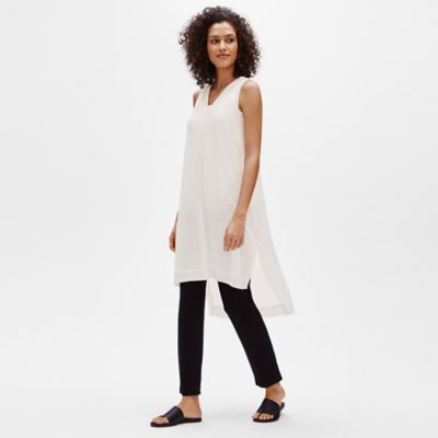 Sheer Silk Georgette V-Neck Tunic