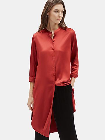Recycled Polyester Satin Shirtdress