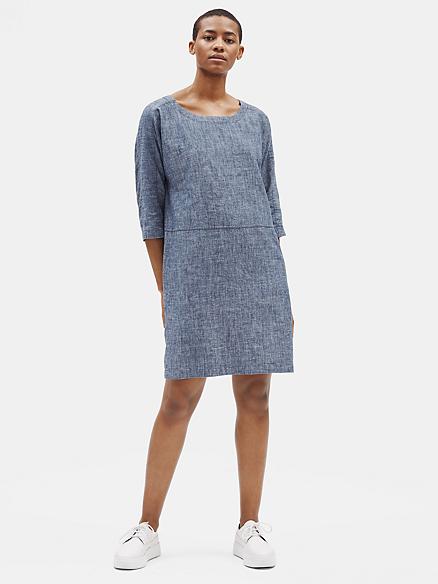 Eileen Fisher Chambray Organic Cotton Jersey Shift Dress  V-Neck Petite PL $178