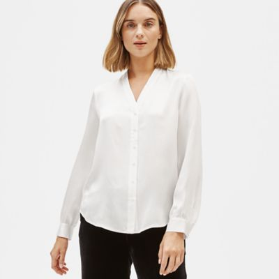 Hammered Silk V-Neck Shirt