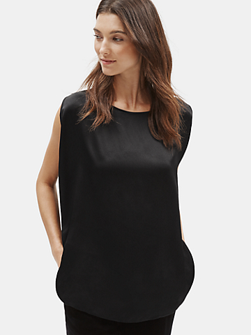 Hammered Silk Bateau Neck Top