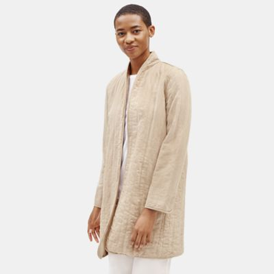Quilted Tencel & Linen Long Jacket