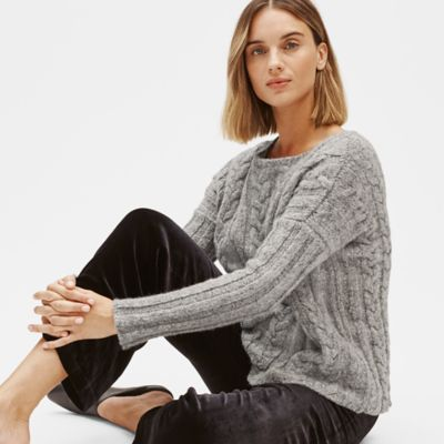 Baby Alpaca Organic Cotton Cable Knit Top