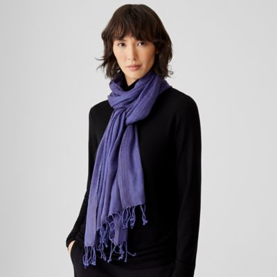 Airy Linen Cashmere Striped Scarf