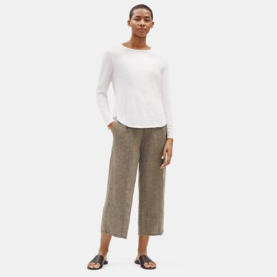 Organic Linen Delave Wide Cropped Pant