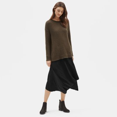 Recycled Polyester Pleated Asymmetrical Skirt